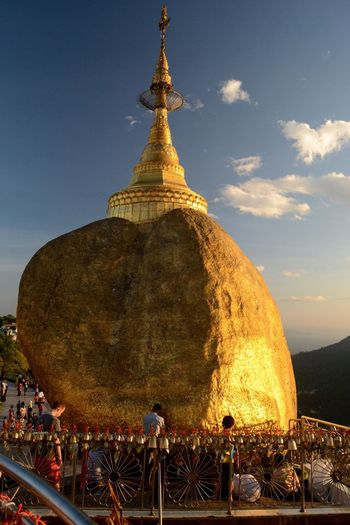 Golden Rock Pagoda Golden Rock Myanmar Myanmarphotos Holy Budism Travel Photography Asian Culture Tranquility Tranquil Scene Evening Light Golden Hour Golden EyeEm Nature Lover Spirituality Spiritual Burma