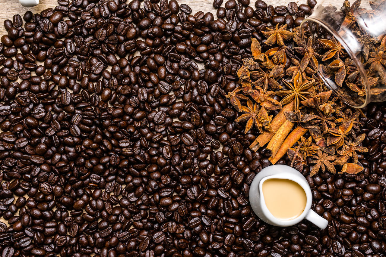 roasted coffee bean, coffee - drink, coffee cup, food and drink, drink, abundance, refreshment, food, scented, coffee bean, freshness, large group of objects, no people, star anise, indoors, raw coffee bean, close-up, healthy eating, mocha, day