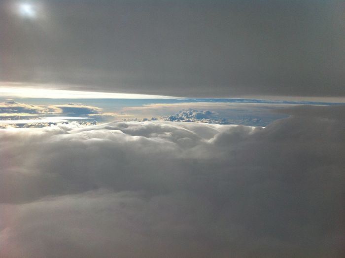 Cloud - Sky Sky Scenics - Nature Beauty In Nature Cloudscape Tranquility No People Tranquil Scene Aerial View Nature Outdoors Day Idyllic Airplane Air Vehicle Fluffy Sunlight Mid-air Flying Softness Meteorology Above