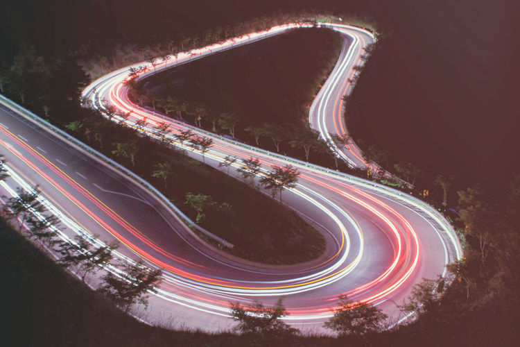 Night Nightphotography Light Landscape Landscape_Collection Landscape_photography Road Light Trail Long Exposure Motion Speed High Angle View Curve No People Street Highway Traffic Red Outdoors Vehicle Light