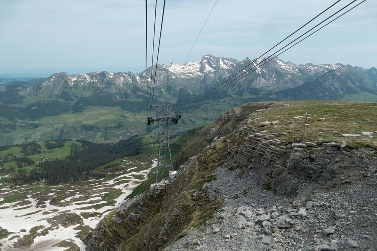 Mountain Cable Sky Environment Landscape Day Scenics - Nature Mountain Range Overhead Cable Car Nature Transportation Cable Car Beauty In Nature Non-urban Scene Connection Tranquil Scene No People Technology Land Outdoors