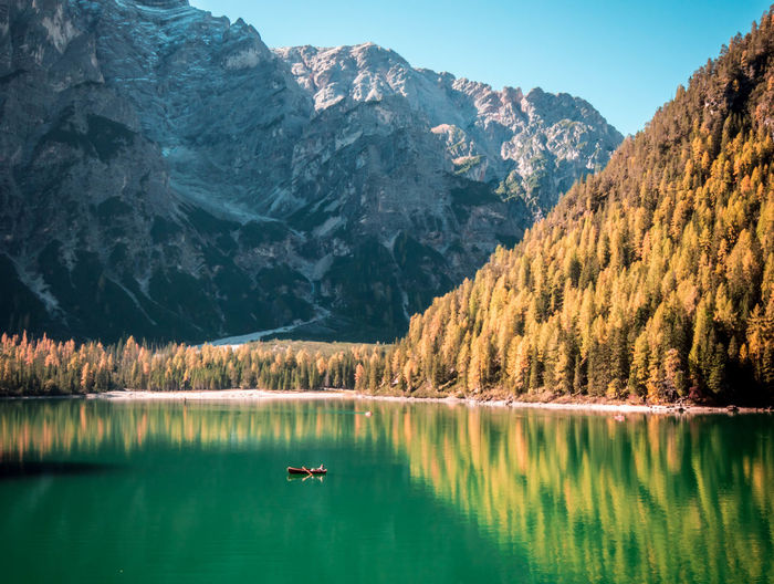 Natural green. Reflection Mountain Lake Water Landscape Mountain Range Scenics Tree Forest Beauty In Nature Nature Outdoors Day Boat Transportation Trentino Alto Adige Trentino  Braies Lake