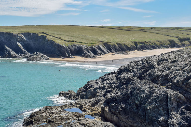 unspoilt Cornwall #coastline Looking Inland Newquay Area Blue Sea Sand Nature_collection Nature Photography Naturelovers Nature On Your Doorstep Natural Beauty Calm Love This Place my happy place Sky Landscape Geology Rugged Physical Geography