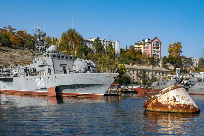 Harbour Sevastopol  Architecture Black See Building Exterior Built Structure Clear Sky Day Harbor Military Ship Moored Nature Nautical Vessel No People Outdoors Sea Sky Transportation Tree Water Waterfront