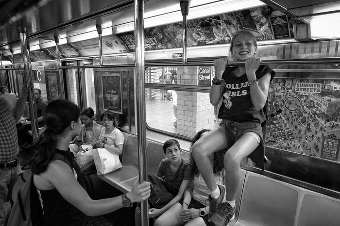 At the subway Acrobat Agile Pull Ups Pull-Up Pull Up Kids Being Kids Kids Black And White Subway Young Women Subway Train Women Passenger Train Train - Vehicle Public Transportation
