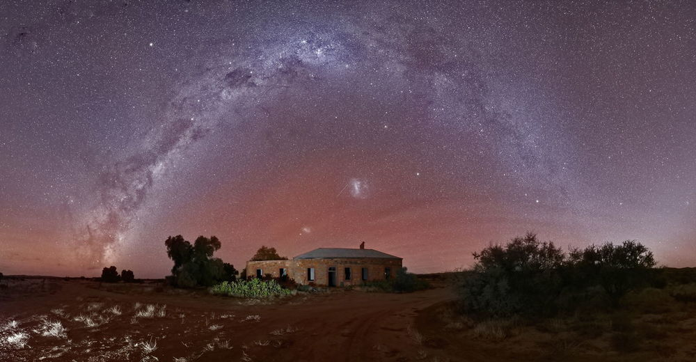 Milky-way panorama over ruin in australian outback