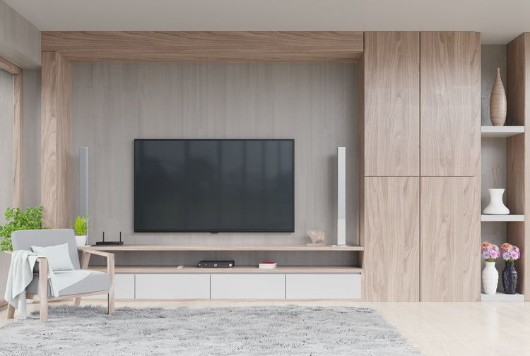 TV on wall in modern living room with decoration and armchair on wooden cement wall background,3d rendering Indoors  Table Seat Living Room Furniture No People Wood - Material Chair Domestic Room Television Set Day Home Interior Technology Architecture Absence Modern Empty Home Showcase Interior Home Nature Luxury Flat Screen Tv Armchair Decorations