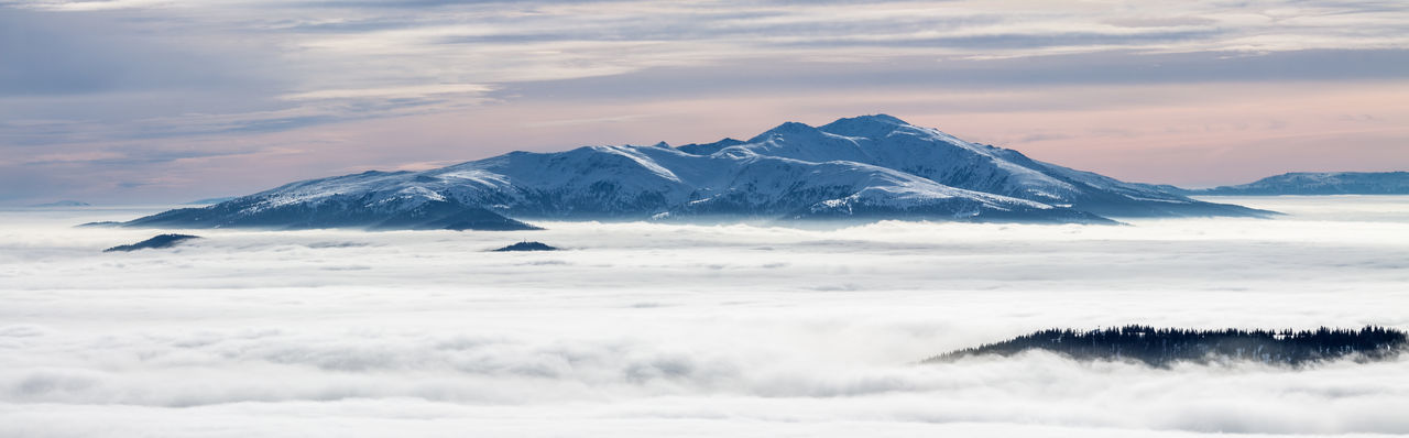 Alps Clouds Cold Cold Temperature Fog Landscape Majestic Mountain Mountain Range Pastel Power Outdoors Physical Geography Red Sky Remote Scenics Landscapes With WhiteWall Snow Snowcapped The Great Outdoors - 2015 EyeEm Awards Tranquil Scene Tranquility Weather Winter My Winter Favorites Panorama
