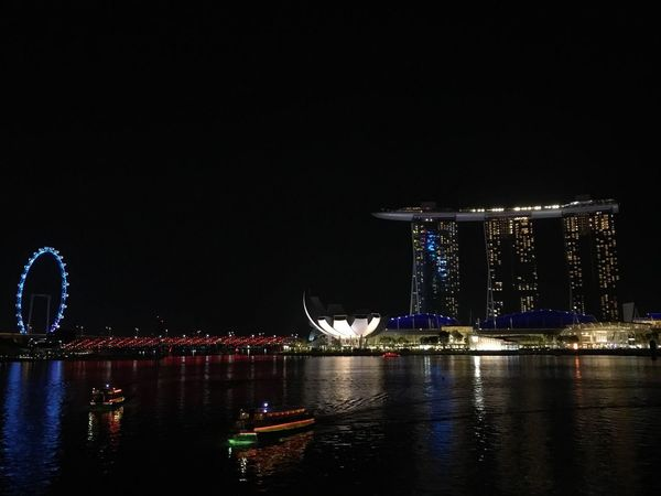 Night scene in Singapore Night Illuminated Water City Architecture Built Structure Building Exterior Bridge - Man Made Structure Amusement Park Ride Nature Travel Destinations Sky River No People Ferris Wheel Outdoors Travel Reflection Amusement Park HUAWEI Photo Award: After Dark EyeEmNewHere
