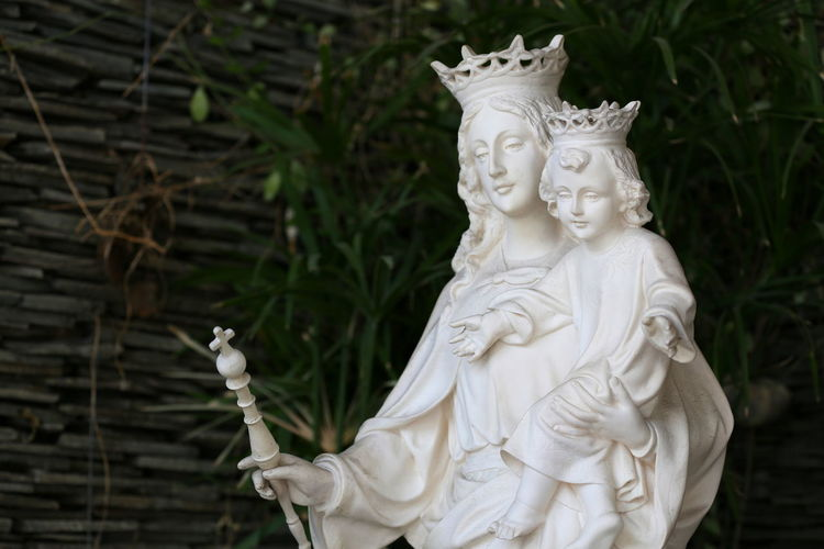 Statue of Our lady help of Christians front of the Catholic church. Heaven Jesus Mother Our Lady Help Of Christians Queen Tenderness Virgin Mary Virgin Mary Statue Religious Icon White