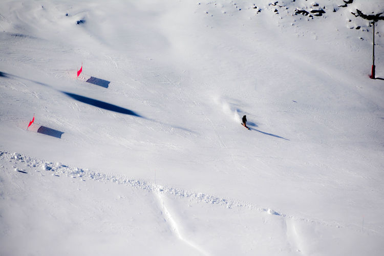 High angle view of person skiing on snow