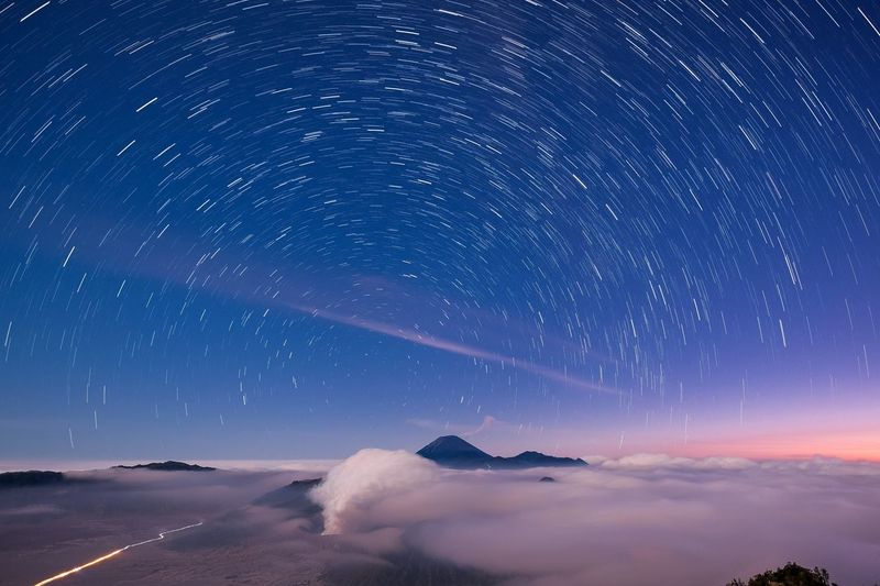 After Sunset at Bromo Mountain Bromo Mountain Bromo Tengger Semeru National Park Night Sky Star - Space Astronomy Space Science Galaxy Outdoors Blue Space And Astronomy Long Exposure Landscape Scenics - Nature Cloud - Sky Mountain Milky Way Nature Land Environment Beauty In Nature