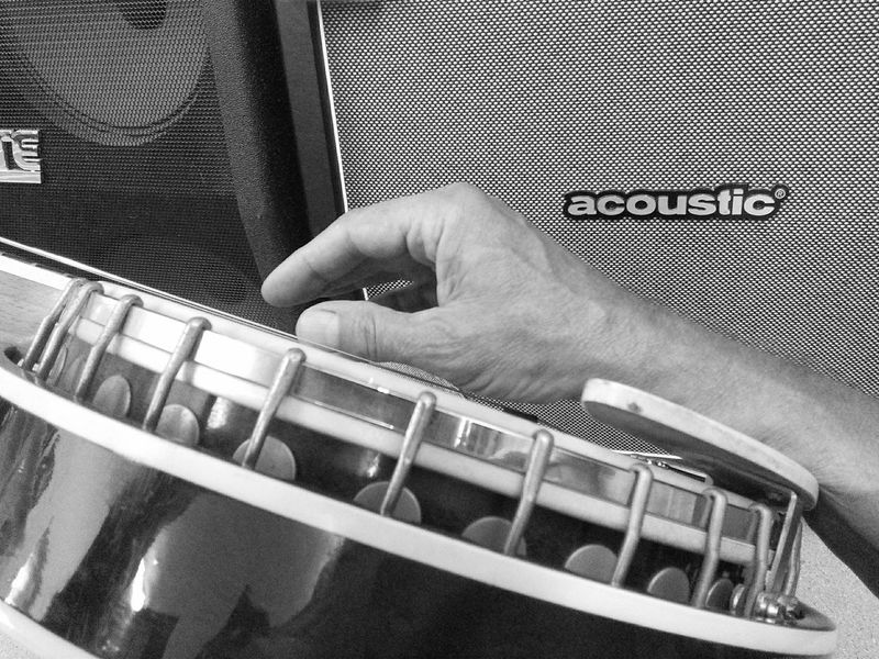 Monochrome Photography Acoustic Strings Amplifiers Hands On Arm TextAcoustic Banjo. Stringed Instrument Person