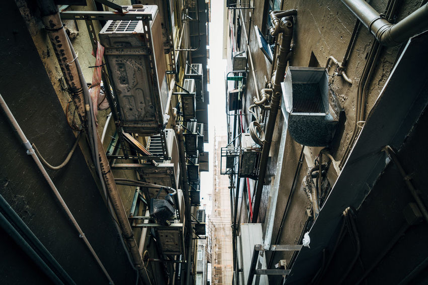 Air Conditioner In A Row Narrow Shadows & Lights Shapes Alley Building Building Exterior Electrical Equipment No People