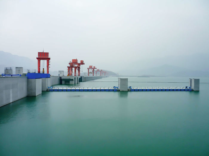 Serene view of foggy morning at three gorges dam in china
