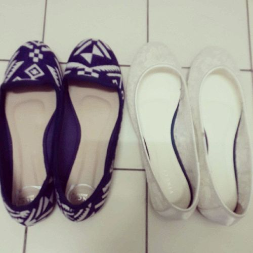 Aztec navy blue and lady like white laces flats. Because I am in KL so it equates to shopping. Weee Vnc Iloveshoes Balletflats Aztecinspired
