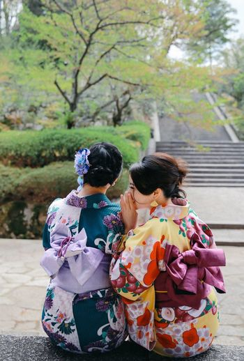Whisper Girls Friendship Friends Kimono Traditional Clothing Kyoto Chion-in Temple Ancient Architecture