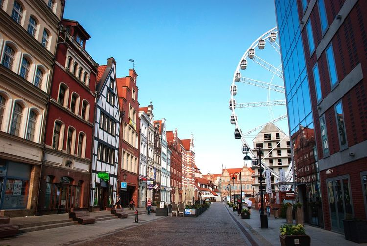 Giant Wheel Urban Gdansk Poland Danzig Building Exterior Architecture Built Structure Sky City Building Clear Sky Street The Way Forward City Life Residential District