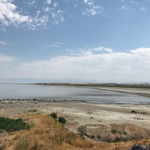 Nature Tranquil Scene Tranquility Water Sky Day Scenics Beauty In Nature Beach Sea Landscape Cloud - Sky Outdoors Sand No People Grass Horizon Over Water Saltlakecity Great Salt Lake USA Utah