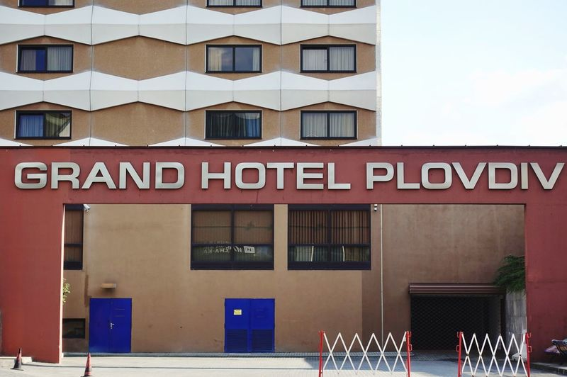 Grand hotel plovdiv Building Exterior Architecture Built Structure Text Window Day Building No People City Door