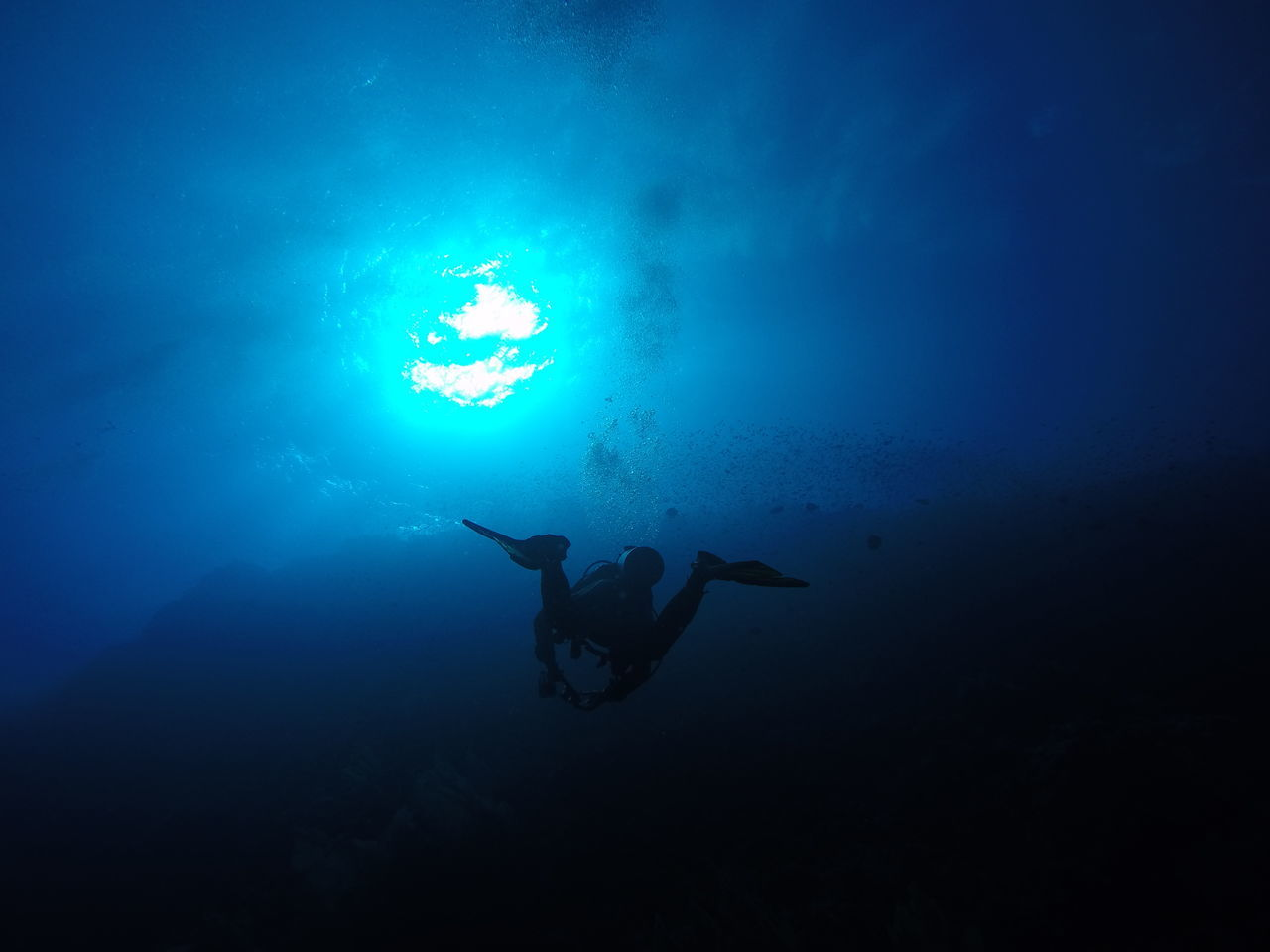 underwater, undersea, sea, swimming, water, sport, aquatic sport, scuba diving, adventure, one person, leisure activity, real people, nature, exploration, blue, unrecognizable person, diving flipper, diving equipment, full length, underwater diving
