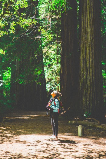 Woman standing by tree in forest