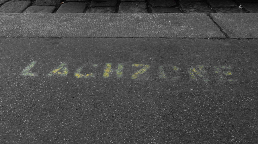 Asphalt Graffiti Lachzone Laughter Zone Road Selective Color Streetart