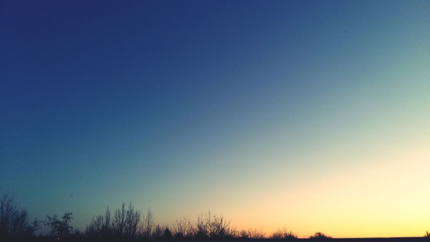 Natural Beauty Silouette Sunset Blue Sky