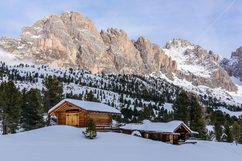 Dolomites, Italy Alps Architecture Beauty In Nature Building Exterior Built Structure Cold Temperature Day House Italy Landscape Mountain Mountain Hut Nature No People Outdoors Roof Scenics Sky Snow Tree Valgardena Weather Winter