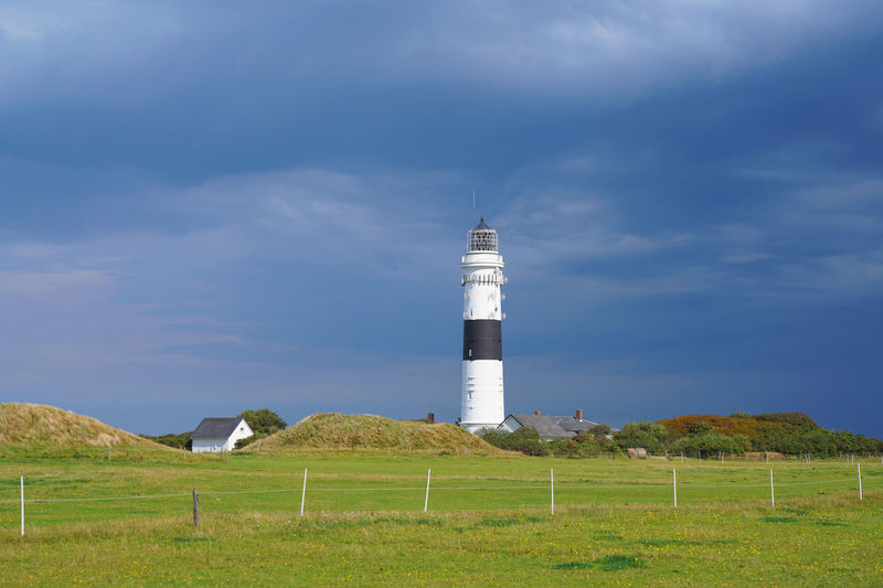 Kampen Light House Sylt Germany Sky Built Structure Tower Architecture Land Building Exterior Guidance Cloud - Sky Lighthouse Field Grass Day Nature No People Plant Protection Environment Landscape Security Safety Outdoors Kampen Lighthouse Black And White