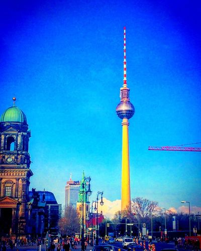 Berlin life City Skyline #streetphotography Architecture Built Structure Tall - High Building Exterior Tower Travel Destinations Television Tower City Blue Low Angle View Large Group Of People Travel Dome Tourism Clear Sky Outdoors Communication Sky People Day