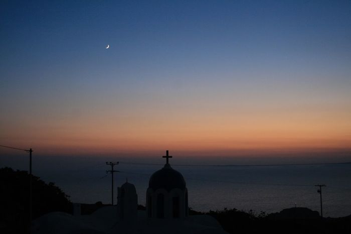 Churches of Santorini 🇬🇷 08 Sunset Silhouette Architecture Moon Built Structure Sky No People Building Exterior Dome Crescent Beauty In Nature Scenics Nature Place Of Worship Outdoors Night Half Moon Astronomy Canon400d Canonphotography Vacations Santorini, Greece Churches Travel Destinations Spirituality