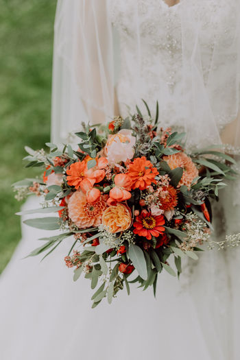 Bride with her bouquet Emotions Wedding Wedding Photography Beauty In Nature Boho Bouquet Bride Bunch Of Flowers Celebration Ceremony Decoration Event Flower Flower Arrangement Life Events Marriage  Nature Veil Vintage Wedding Wedding Dress Weddingshoot