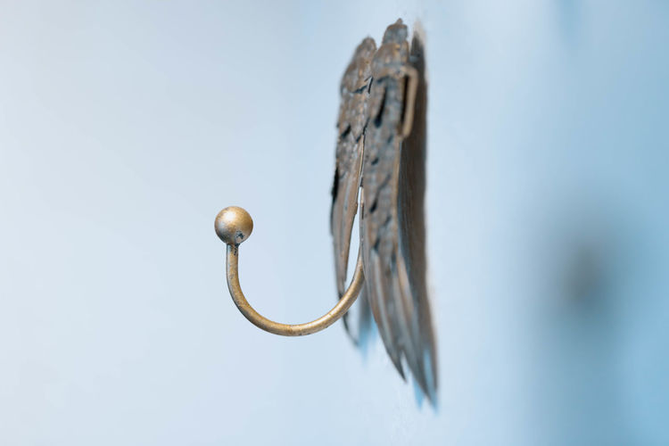 low angle view of door handle against sky Built Structure Clear Sky Close-up Copy Space Day Door Entrance Focus On Foreground Hanging Hook Low Angle View Metal Nature No People November Outdoors Selective Focus Shape Sky Still Life Wood - Material Holiday Moments