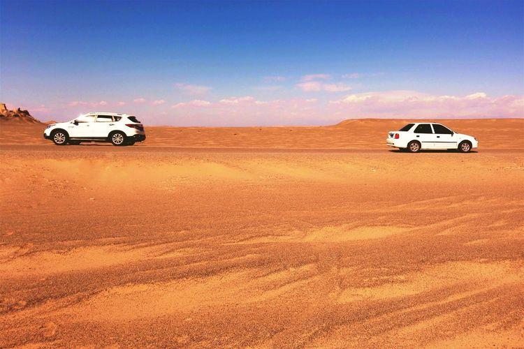 Car Sky Desert Road Blue Golden Travel Wide Beauty In Nature Nature Hello World