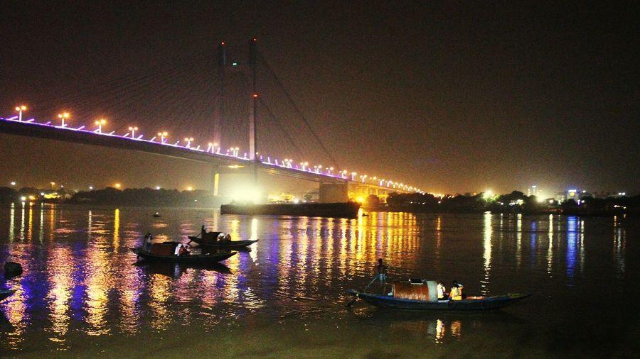 """Nightlife"" Nightlife Boatride Kolkata Yamuna Night Illuminated Reflection Outdoors Water Architecture EyeEmNewHere EyeEm Ready   AI Now"