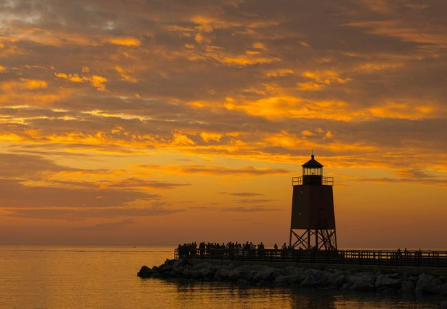 Clouds And Sky Lighthouse Great Lakes Scenic, Charlevoix Lake Michigan On The Beach Beach Summer Days Beautiful Nature Sunset Michigan Fine Art Photography