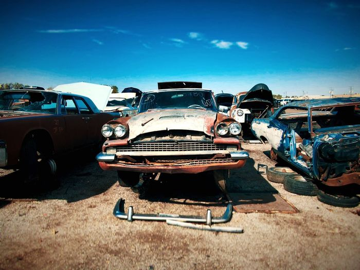 Transportation Car Mode Of Transport Blue Damaged Abandoned Retro Styled Old-fashioned No People Land Vehicle Day Outdoors Sky Junkyard Vintage Cars Junkyardcar Cars Forgotten EyeEm Selects Forgotten Things Scrap Metal Obsolete Rusty Destruction Close-up