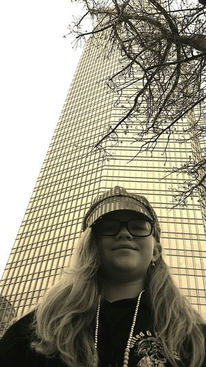 Visiting Downtown Skyscraper Building And Sky Girl Fashion Hat Blonde Long Hair Vacation Trip Downtown Cute Young Lady Smile Smiling Confident  Sure Discover Your City Discovering Excited Searching HighTimes