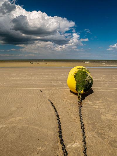Yellow umbrella on sand dune