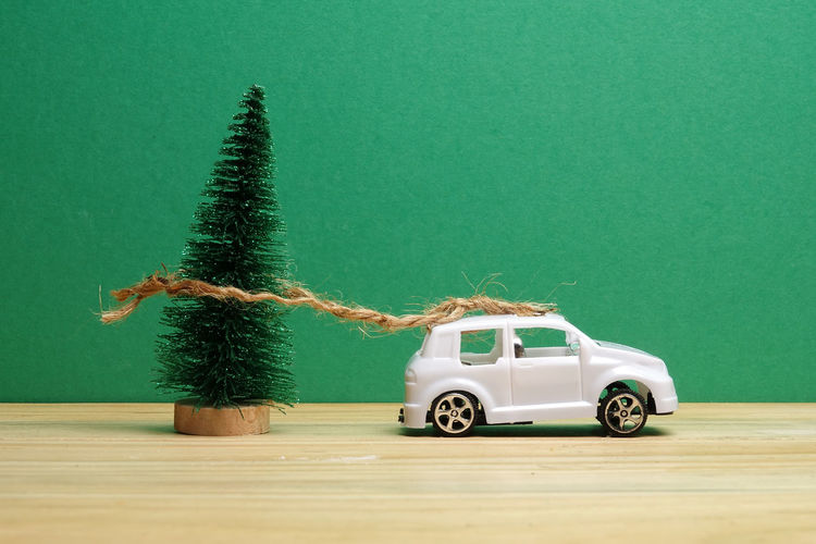 Toy car on table