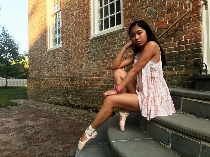 EyeEm Selects Brick Wall Full Length One Person Young Adult Young Women Sitting Pointe Shoes Ballet Dancer