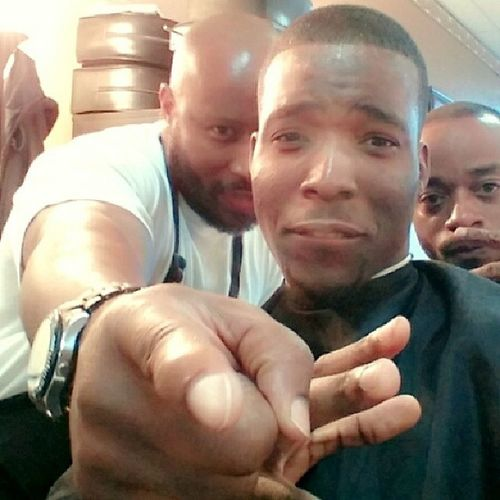 Me & the barbers Turnt over here at BxBHairStudio . Getting fresh for tonight!