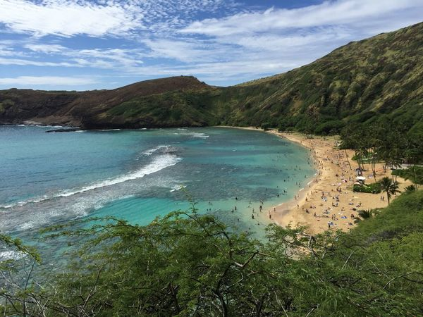 Hanauma Bay Beauty In Nature Blue Coastline Exploring Hanauma Bay Hawaii Horizon Over Water Nature No People Outdoors Rock Scenics Sea Shore Tranquil Scene Tranquility Water