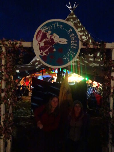 Festival Festival Goers Festival Season Glastonbury 2014 Glastonbury Nighttime Sign Tent The Rabbit Hole
