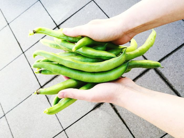 Cropped Hands Holding Green Beans At Footpath
