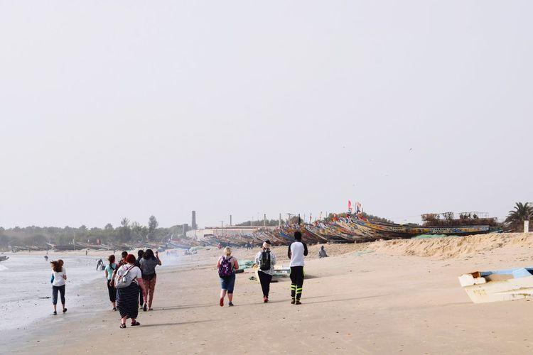 Crowd Beach Sea Sand Clear Sky Full Length Sky