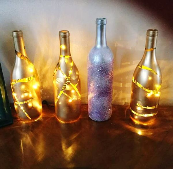 New Year's Eve decor New Year's Eve Bottle Pinterest Gold And Silver  Lighted Fun Project 2015  Last Day Of The Year