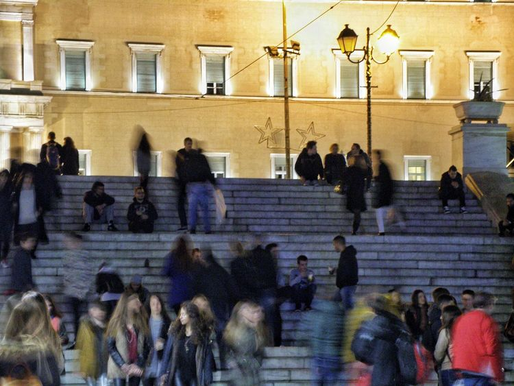 Life In Motion Real People Stairs Greek Parliament Night Lights Night Photography Night Lights Syntagma Square Athens Athens, Greece Colour Your Horizn