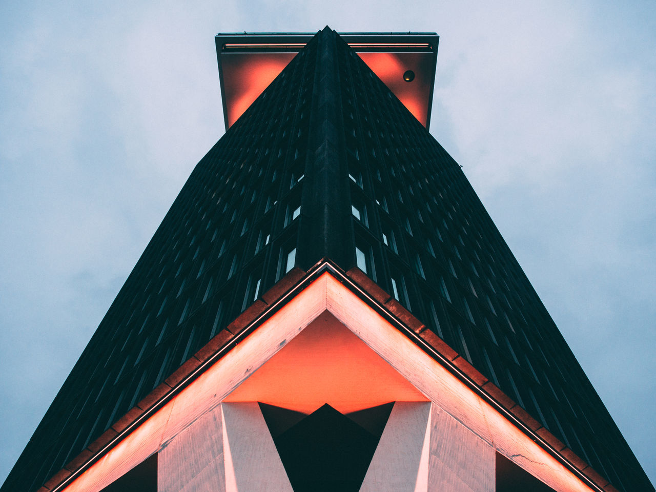 triangle shape, built structure, low angle view, architecture, shape, sky, no people, building exterior, modern, day, outdoors, close-up
